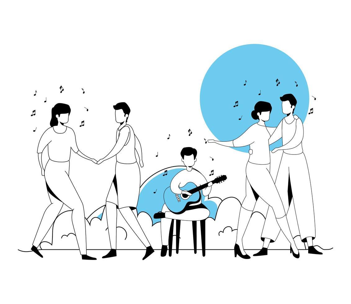 hombre con guitarra y parejas bailando vector