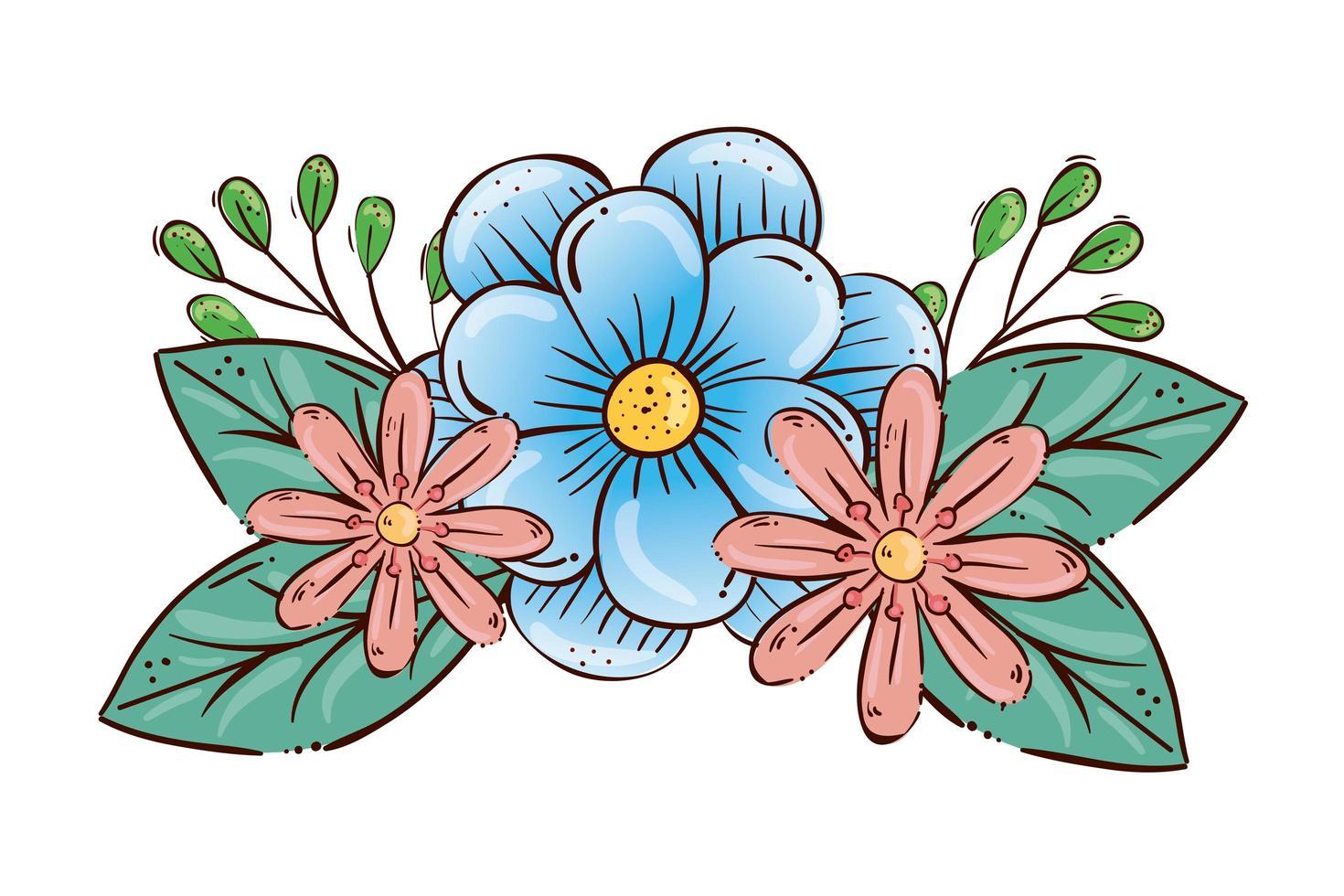 lindas flores con decoración de ramas y hojas vector