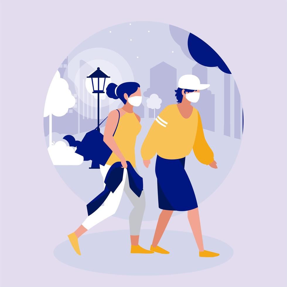 Woman and man with mask at park vector design
