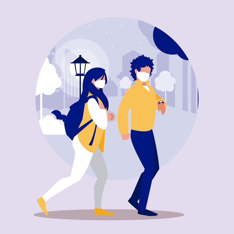 mujer y hombre, con, máscara, en, parque, vector, diseño vector