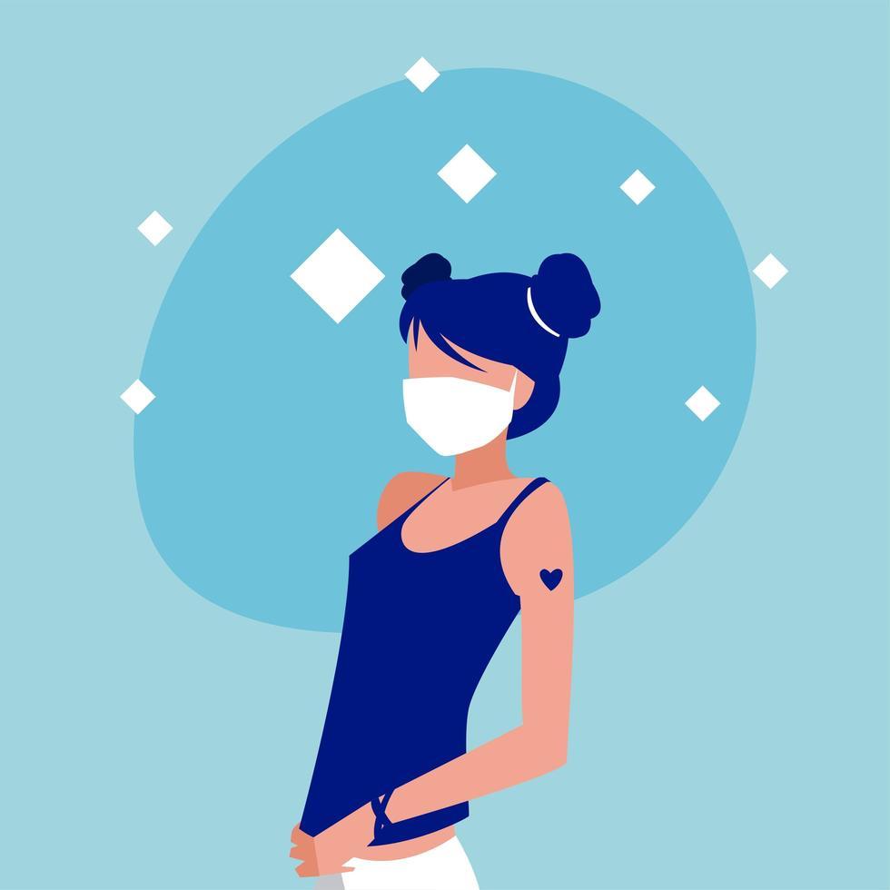 mujer con diseño de vector de máscara