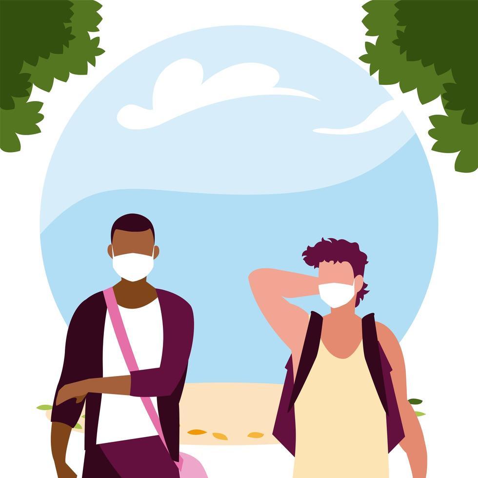 Avatares de hombres con máscaras fuera de diseño vectorial vector