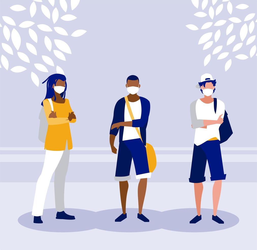 hombres con máscaras fuera de diseño vectorial vector