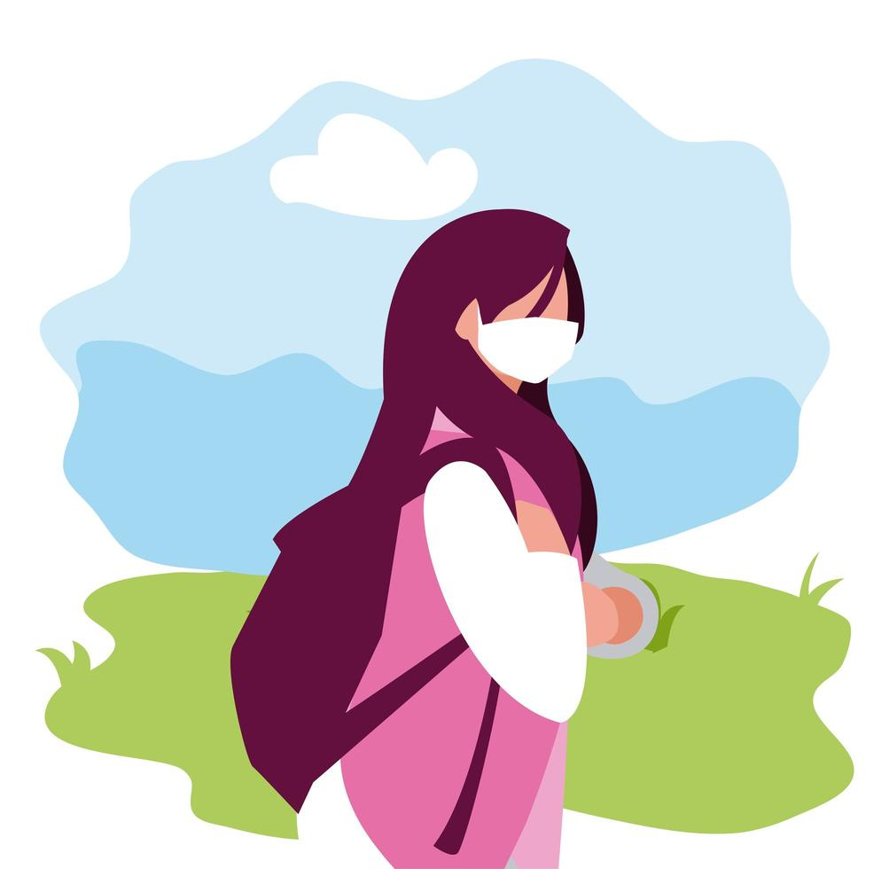 avatar de mujer con máscara fuera de diseño vectorial vector