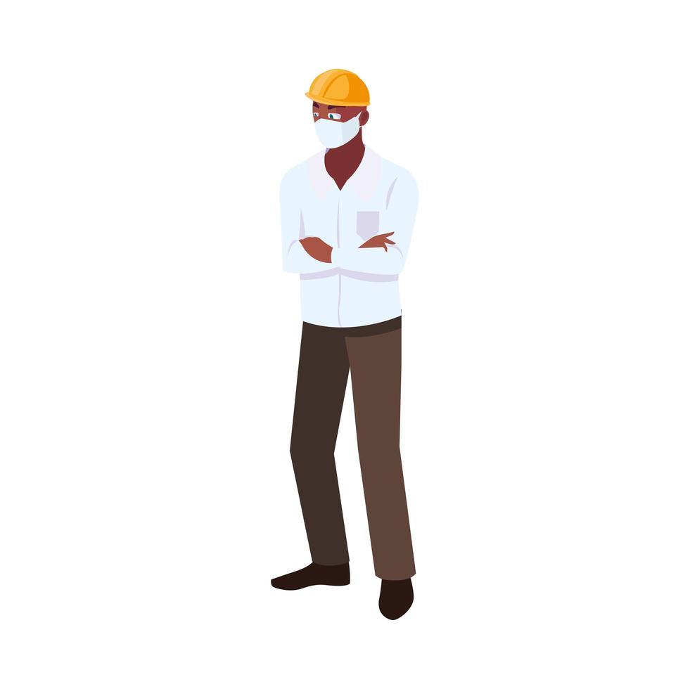 operador de la industria con mascarilla en el trabajo vector
