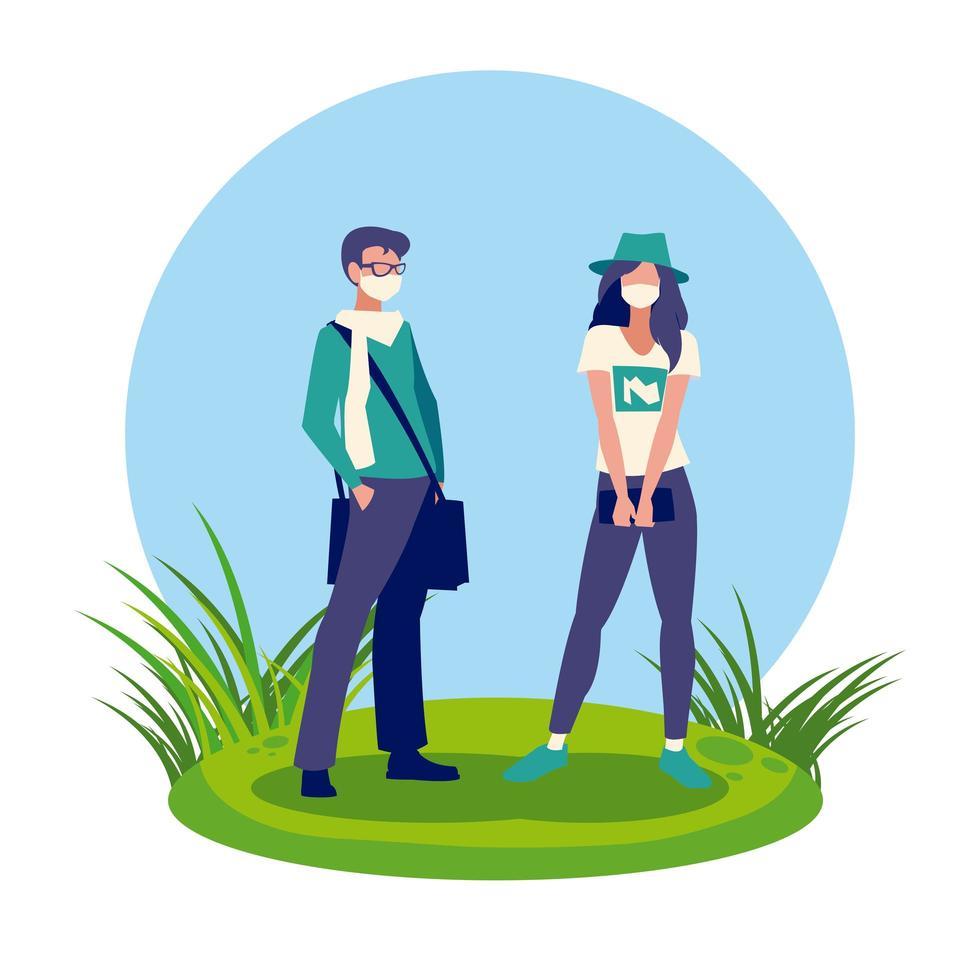 Avatar de mujer y hombre con máscara fuera de diseño vectorial vector