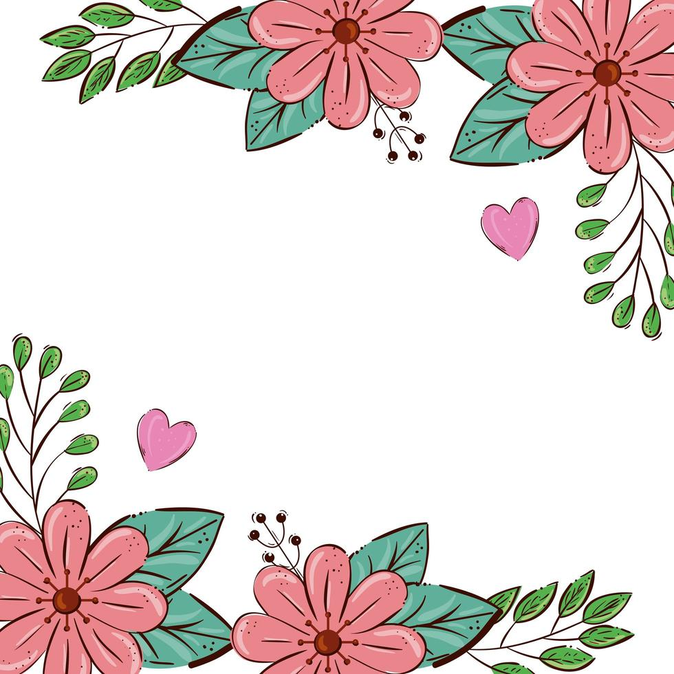 frame of flowers pink color with leafs and hearts vector