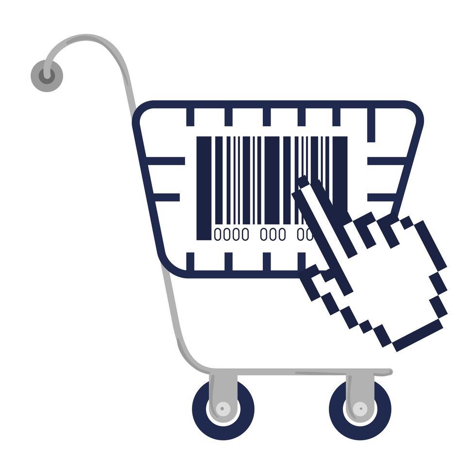 Código de barras dentro del carrito de compras y diseño de vector de mano de cursor