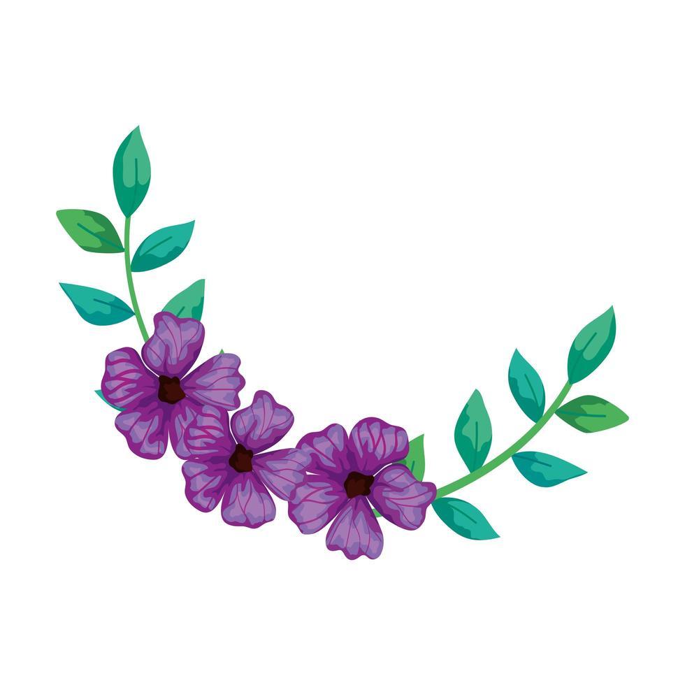 Lindas flores de color púrpura con ramas y hojas icono aislado vector