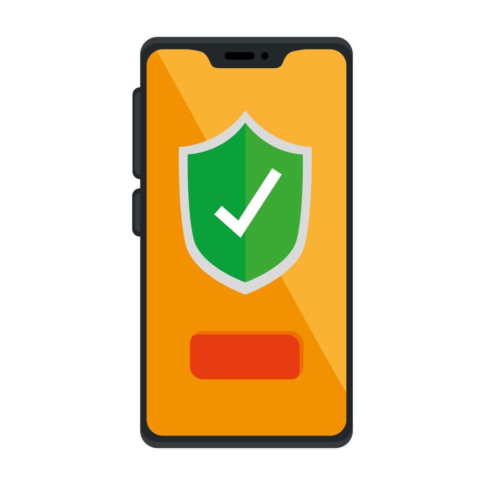 marca de verificación dentro del escudo dentro del diseño vectorial del teléfono inteligente vector