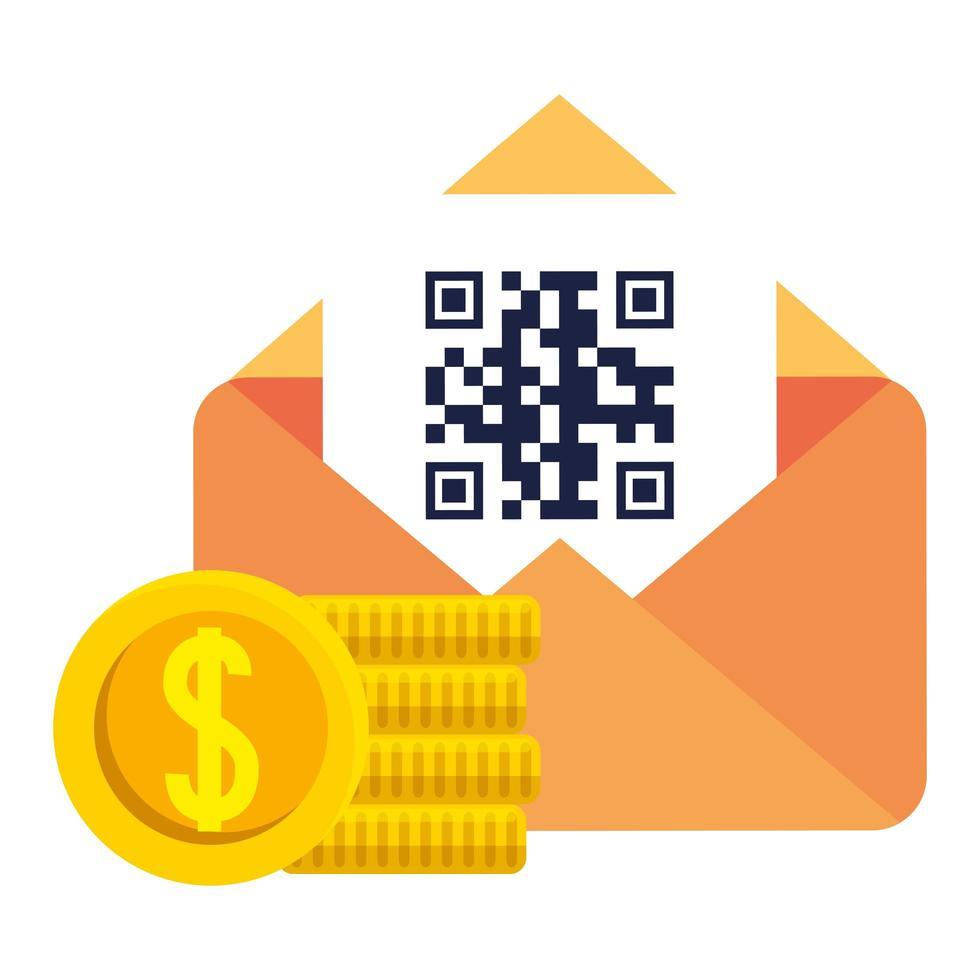 código qr dentro de diseño vectorial de sobres y monedas vector