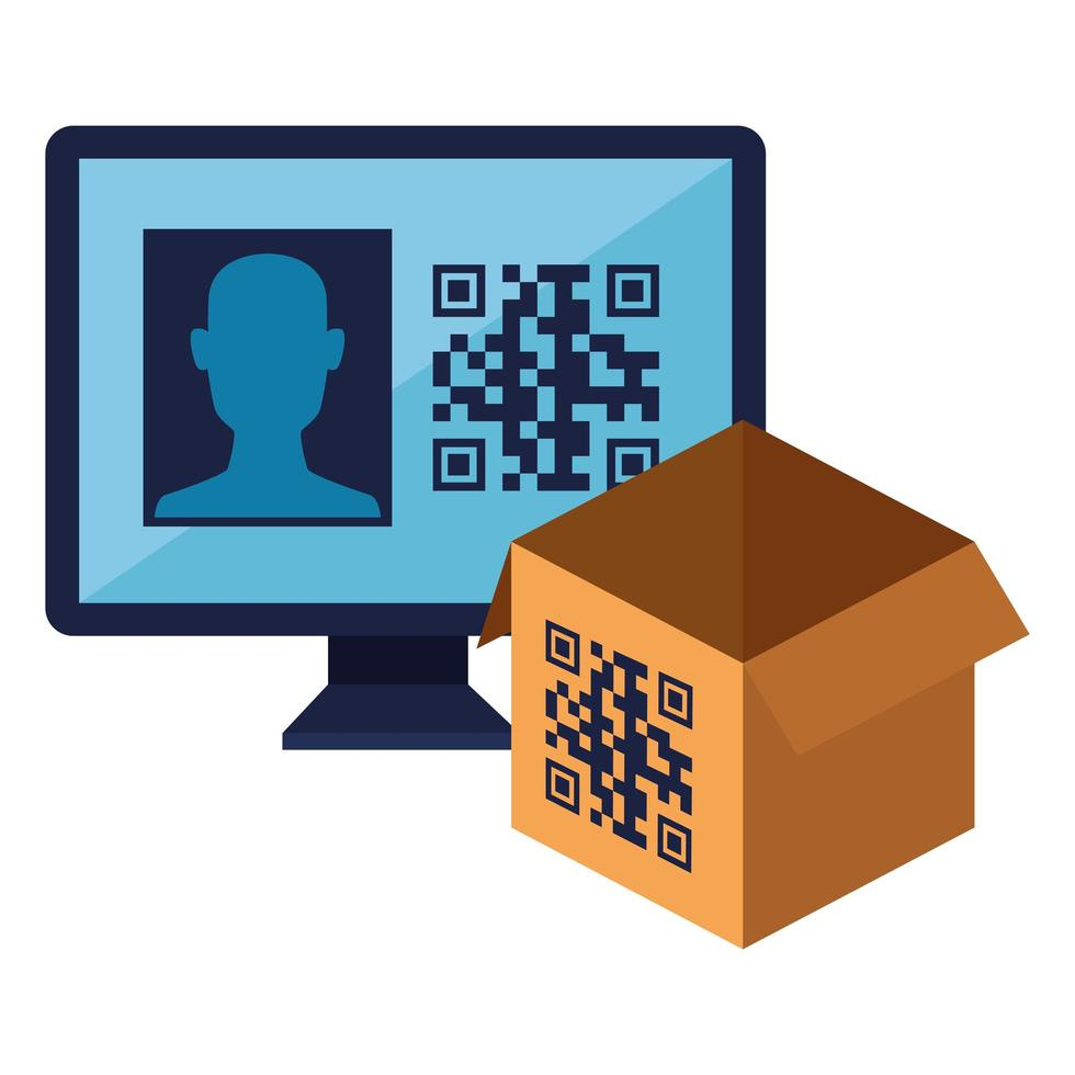 qr code over box and computer vector design