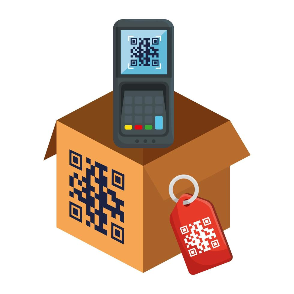 código qr dentro de la caja del datáfono y diseño de vector de etiqueta