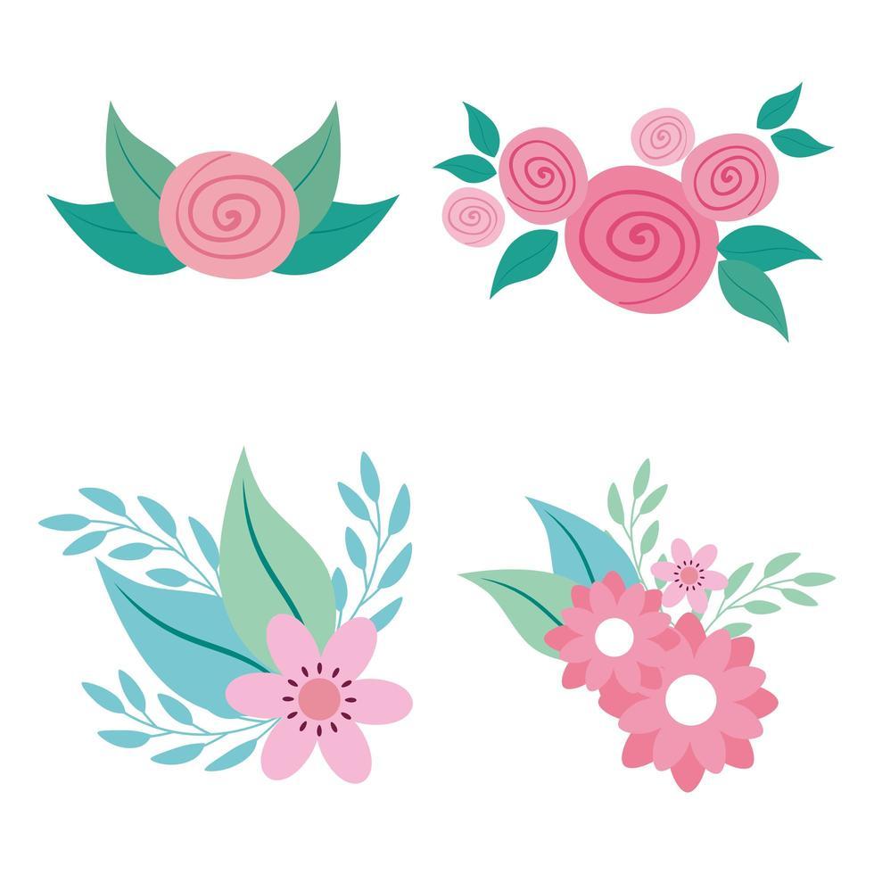 conjunto de lindas flores con hojas naturales vector