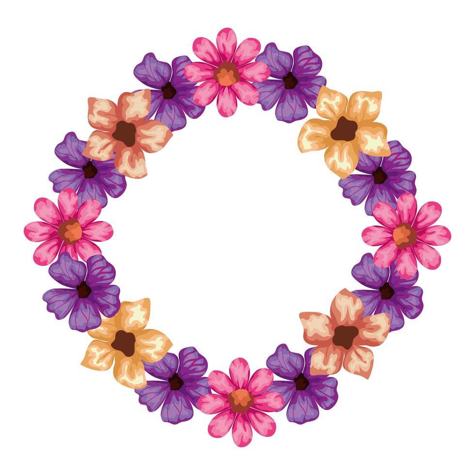 marco circular de lindas flores naturales vector