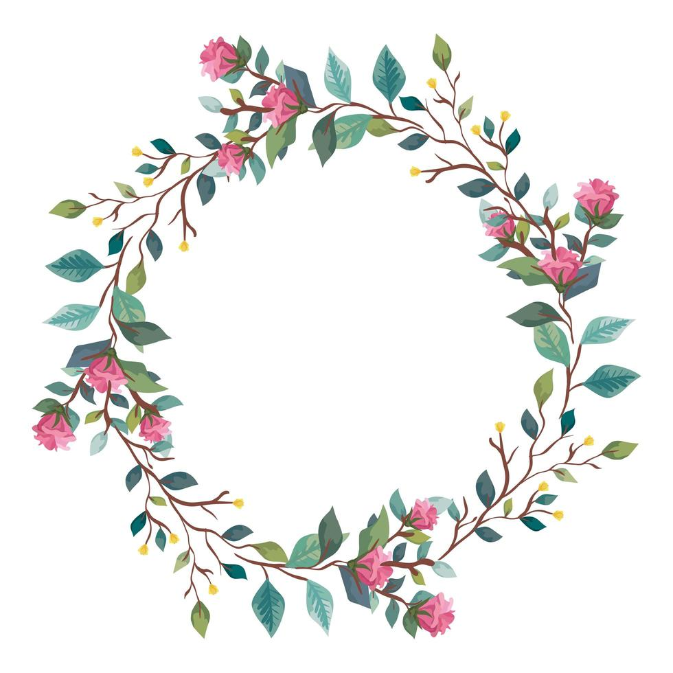 frame circular of flowers with branches and leafs vector