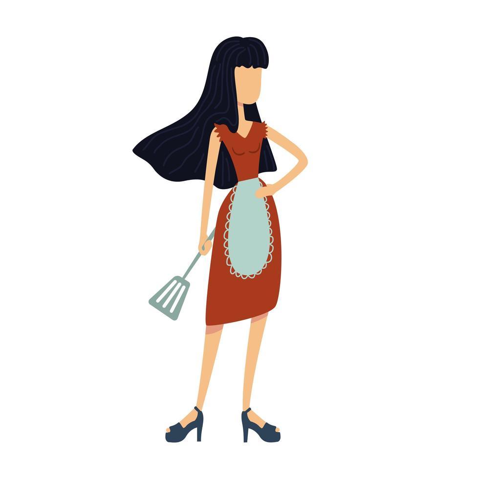 Confident housewife flat cartoon vector illustration