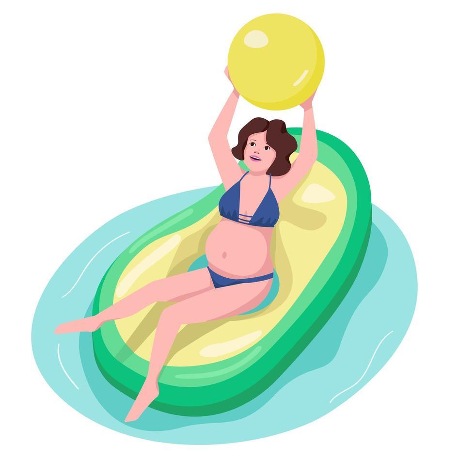 mujer embarazada en carácter de vector de color plano de piscina