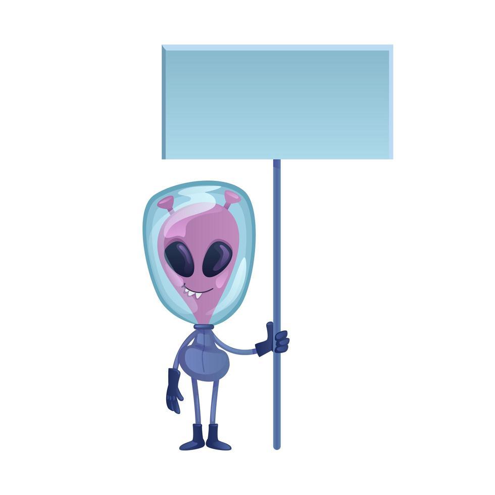 Alien holding blank banner flat cartoon vector illustration