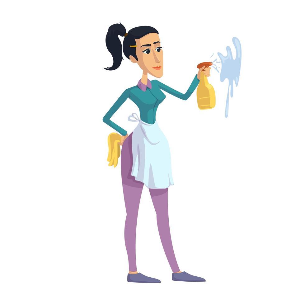 mujer de limpieza, ama de casa perfeccionista ilustración vectorial de dibujos animados plana vector