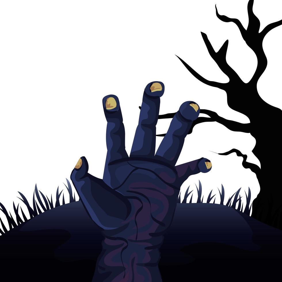 hand of zombie for halloween vector