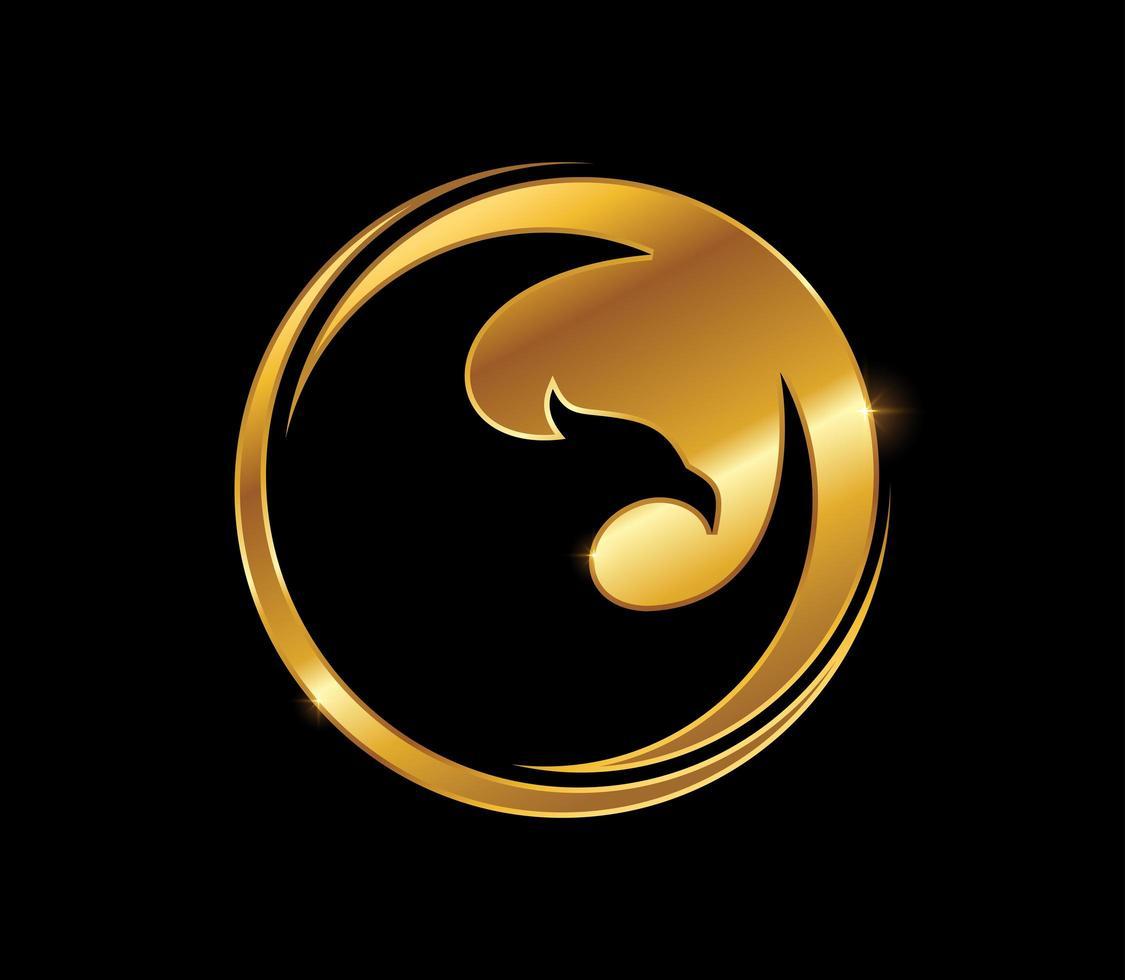 Golden Bird Circle Sign vector
