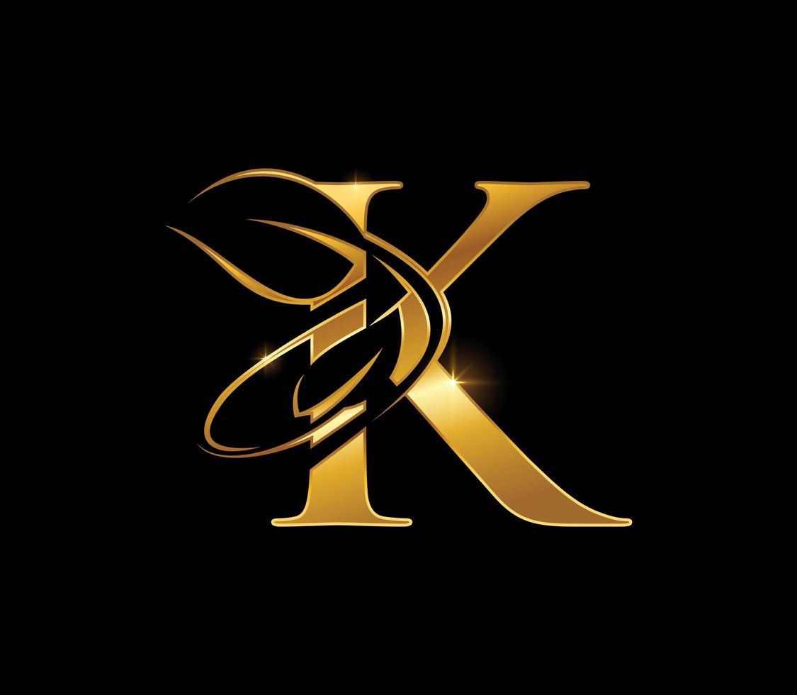 Golden Leaf Monogram Initial Letter K vector