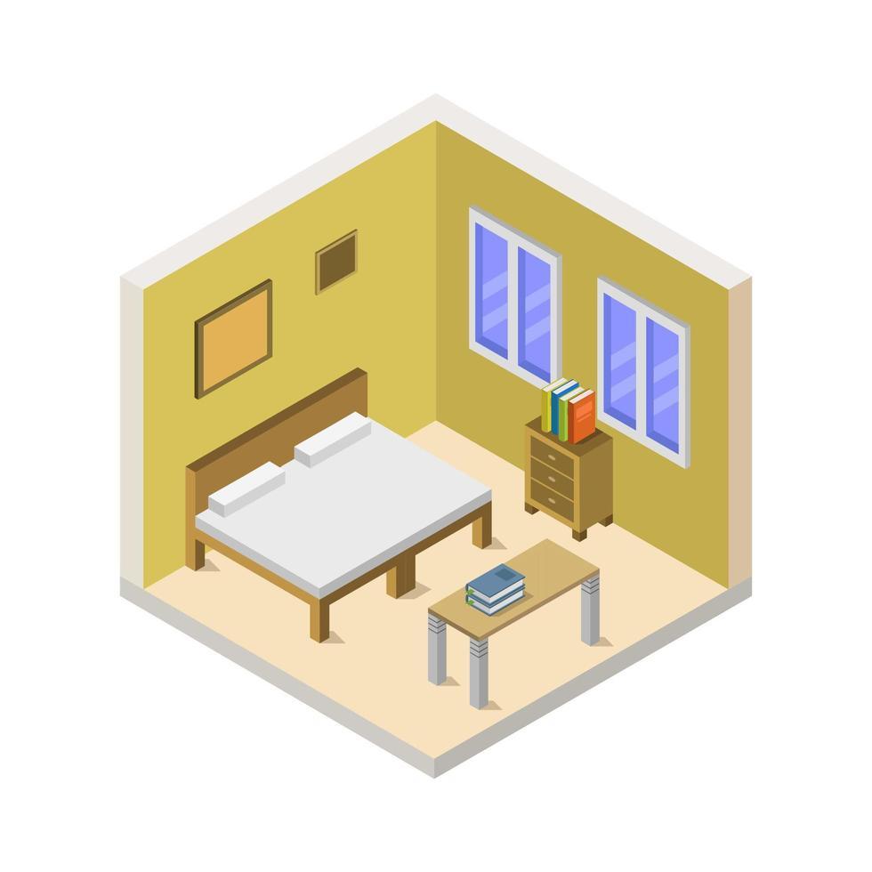 Isometric Bedroom Or Hotel Room 1910846 Vector Art At Vecteezy