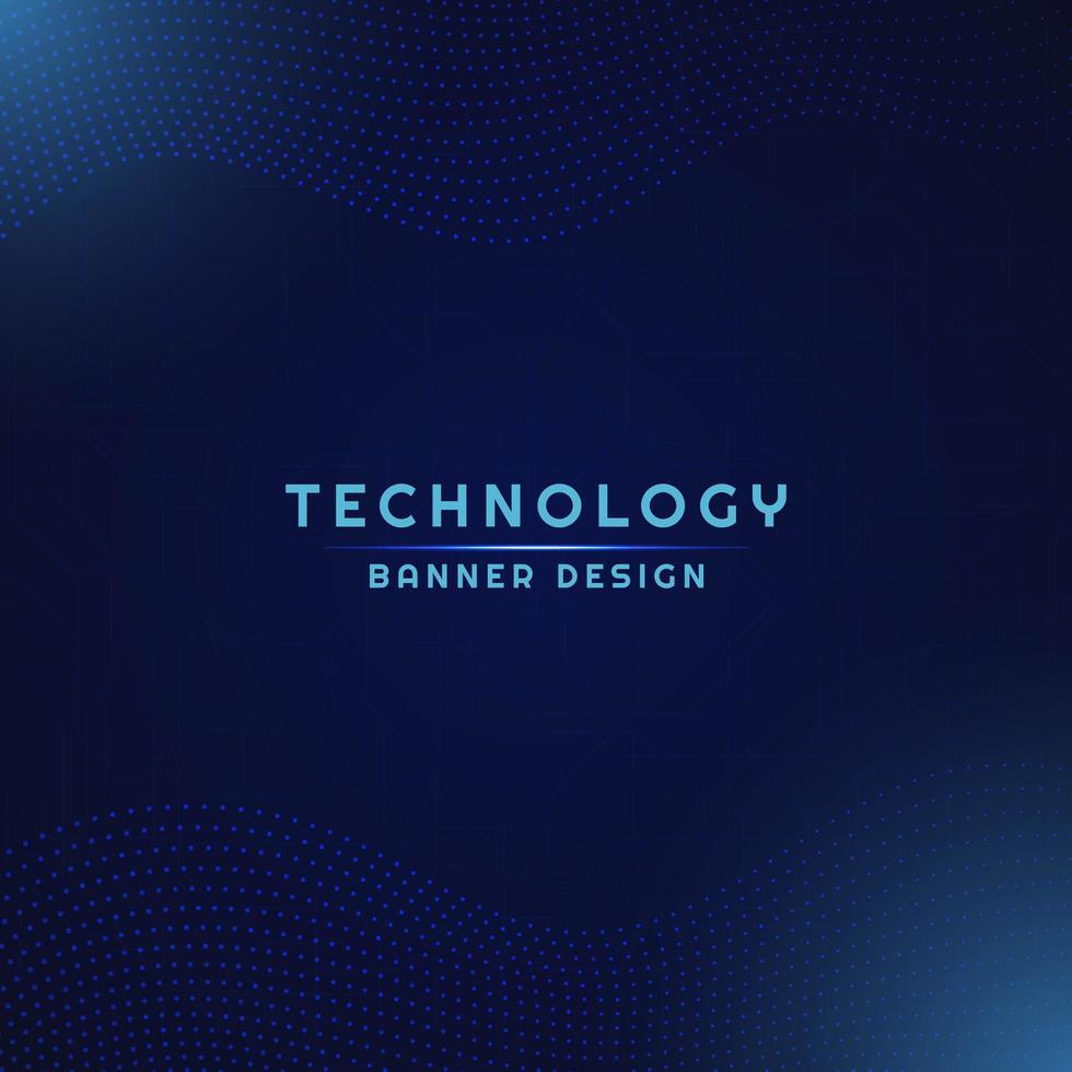 Technology banner dot pattern wave flow design. vector