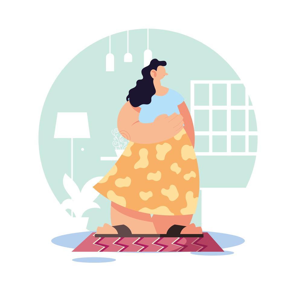 mujer en casa en cuarentena. vector