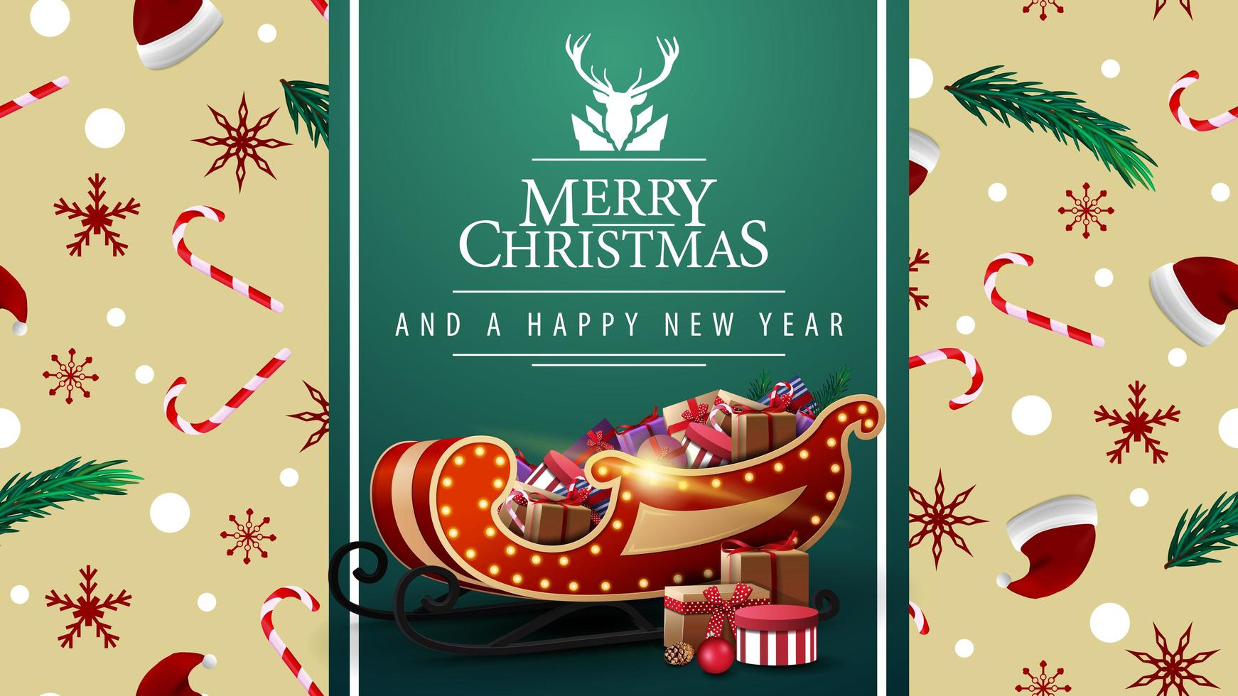 Merry Christmas and happy New Year, beautiful postcard with green vertical ribbon, Christmas texture on background and Santa Sleigh with presents vector