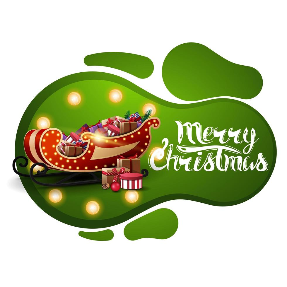 Merry Christmas, green postcard in lava lamp style with yellow bulb and Santa Sleigh with presents isolated on white background vector