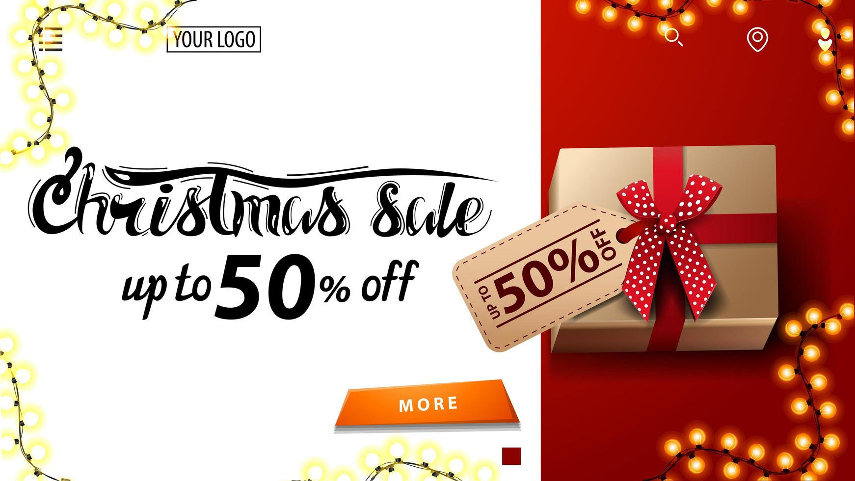 Christmas sale, up to 50 off, white and red discount banner for website with present with price tag, top view vector