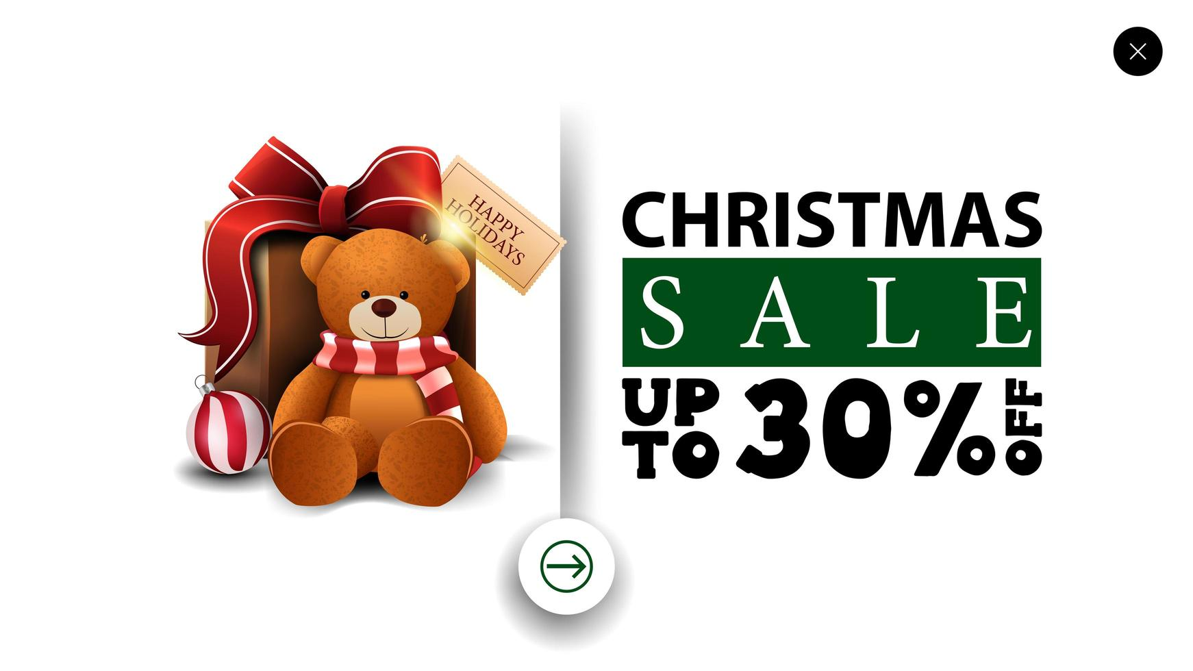 Christmas sale, up to 30 off, white discount banner in minimalistic style for website with present with Teddy bear vector
