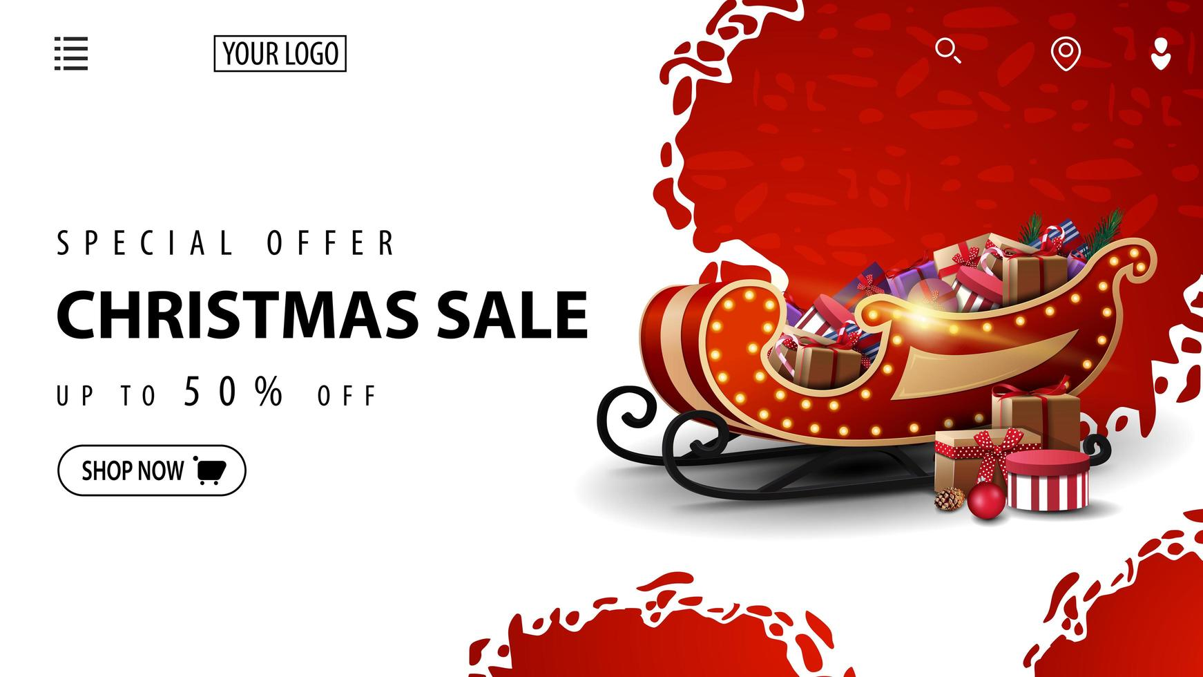Special offer, Christmas sale, up to 50 off, white and red discount banner for website with Santa Sleigh with presents vector