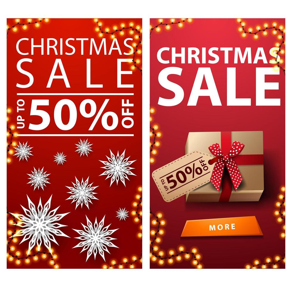 Christmas sale, up to 50 off, red vertical discount banners with paper snowflakes and presents with price tag vector