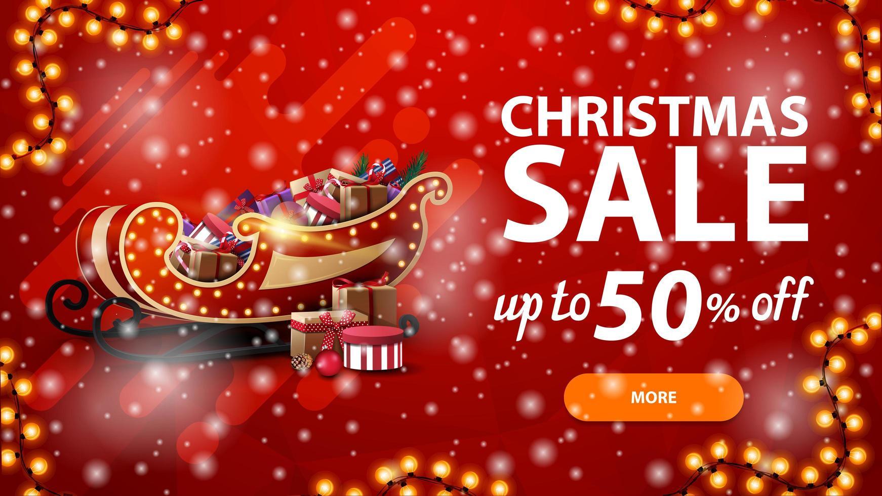 venta de navidad, hasta 50 de descuento, banner de descuento rojo con guirnalda, nevadas y trineo de santa con regalos vector