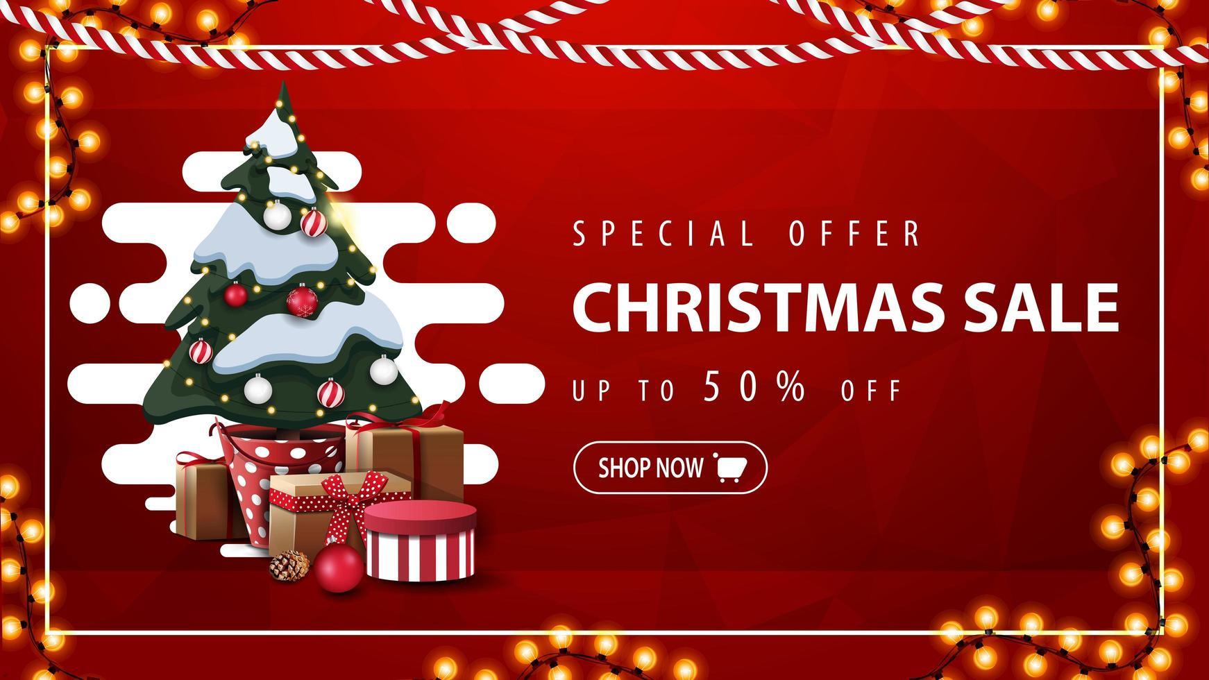 Special offer, Christmas sale, up to 50 off, red discount banner with abstract liquid shape, garland and Christmas tree in a pot with gifts vector
