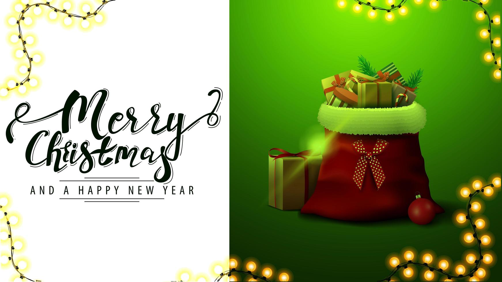 Merry Christmas and happy New Year, white and green card for website with garland and Santa Claus bag with presents vector