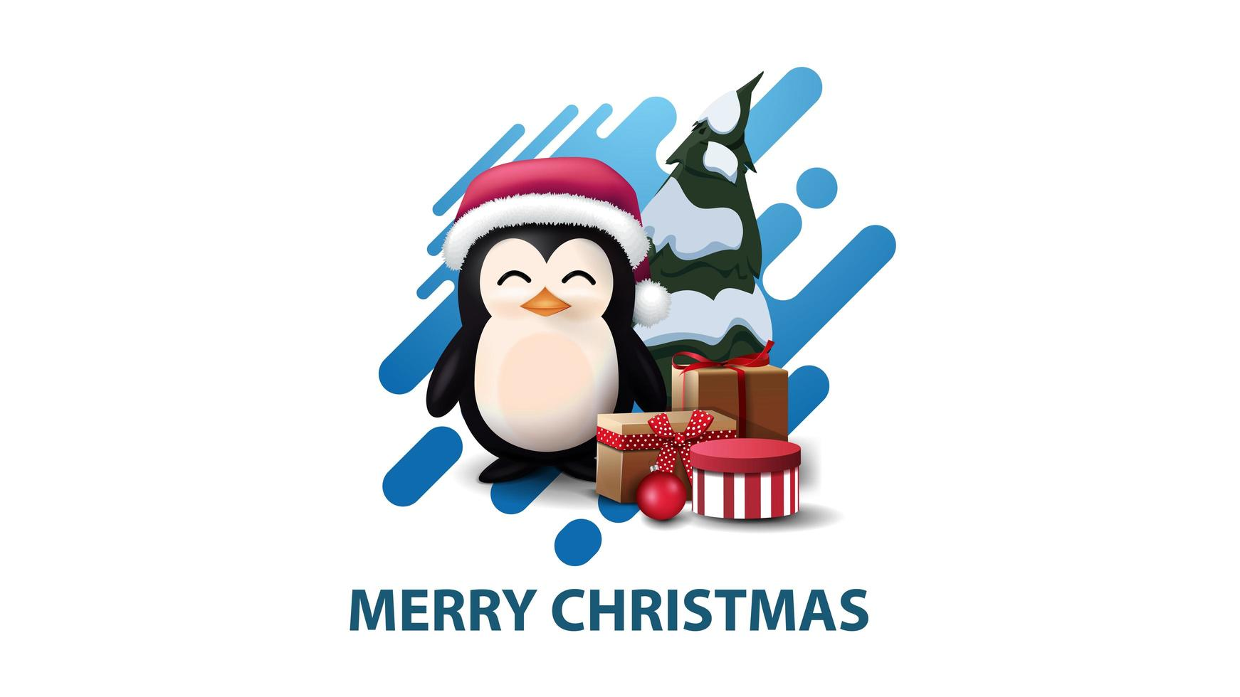 White minimalistic modern Christmas postcard with blue abstract liquid shape and penguin in Santa Claus hat with presents vector