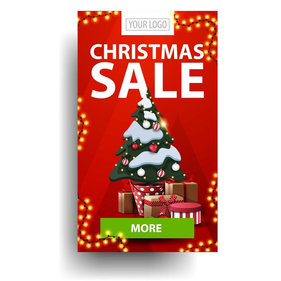 Christmas sale, red vertical discount with green button and Christmas tree in a pot with gifts isolated on white background vector