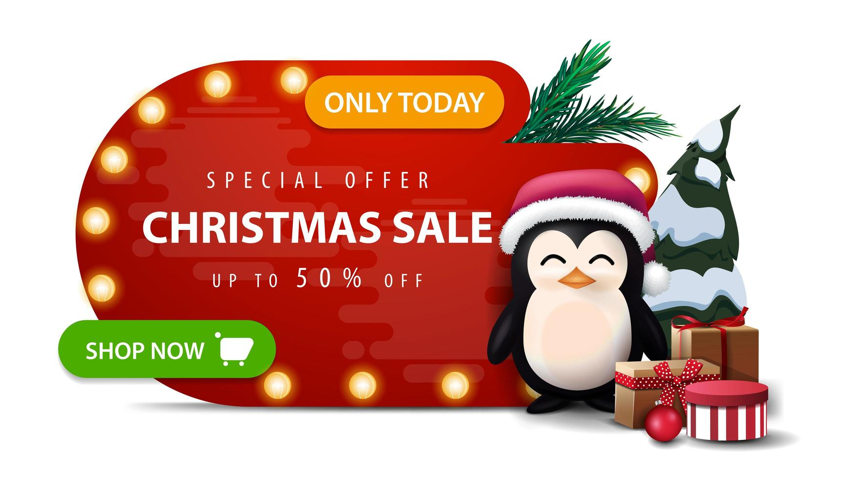 Only today, special offer, Christmas sale, up to 50 off, red abstract shape discount banner with bulb lights, green button and penguin in Santa Claus hat with presents isolated on white background vector