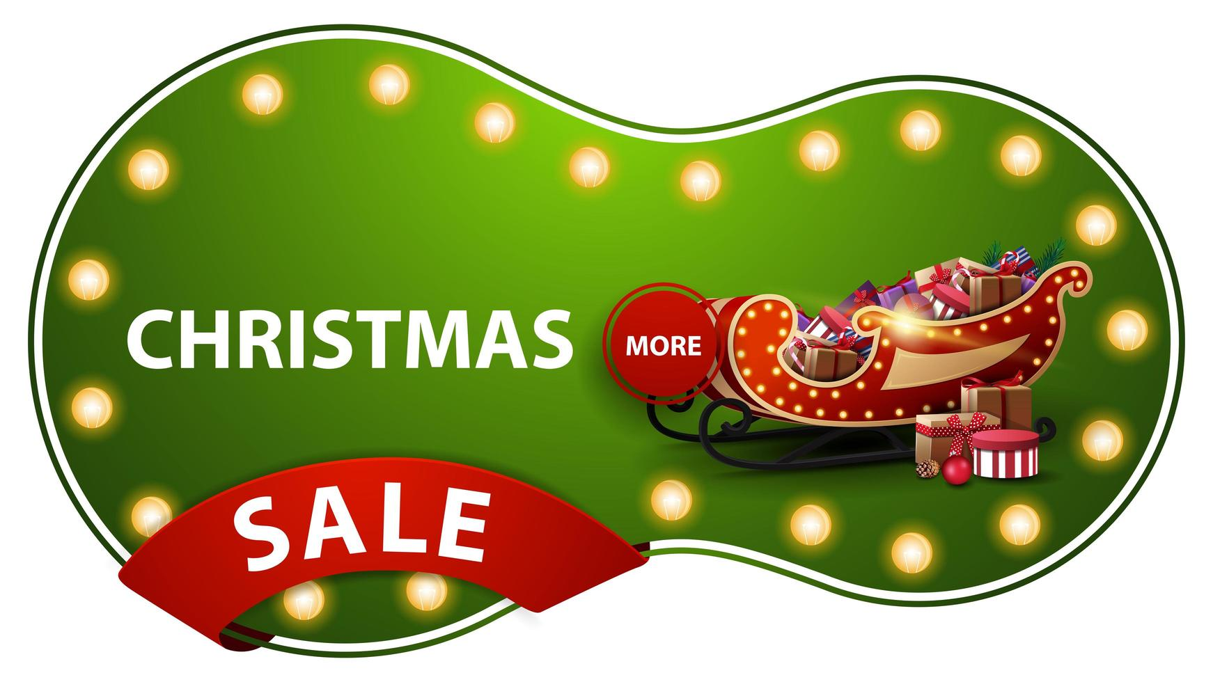 Christmas sale, green discount banner with light bulbs, red ribbon and Santa Sleigh with presents vector