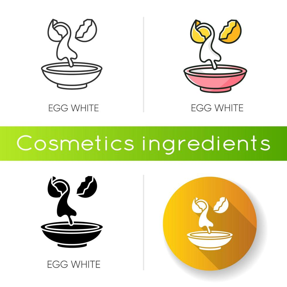 Egg white icon. Cracked shell with albumen. vector