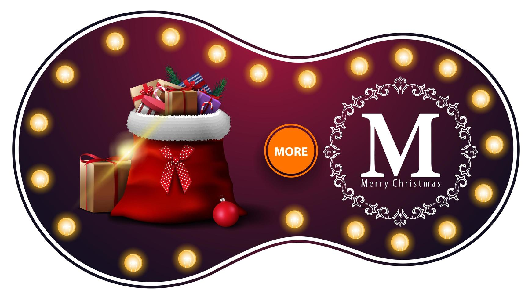 Merry Christmas, purple discount banner with light bulbs, openwork greeting logo and Santa Claus bag with presents vector