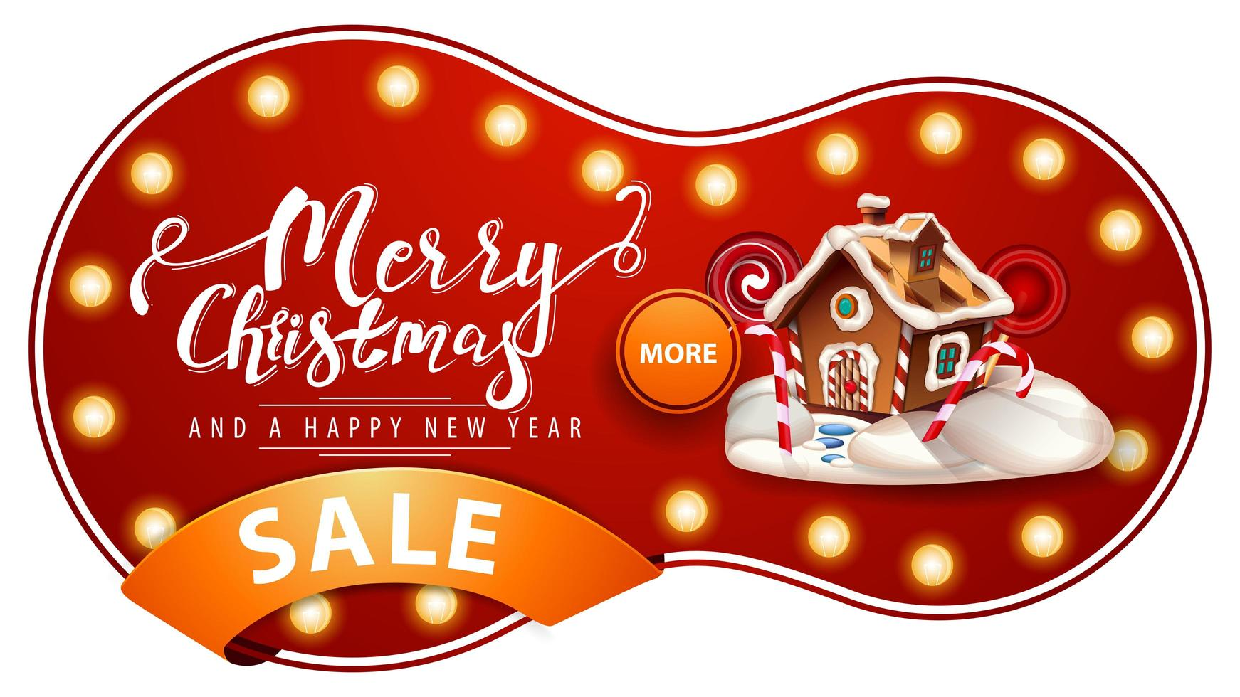 Merry Christmas and Happy New Year, red discount banner with light bulbs, orange ribbon and Christmas gingerbread house vector