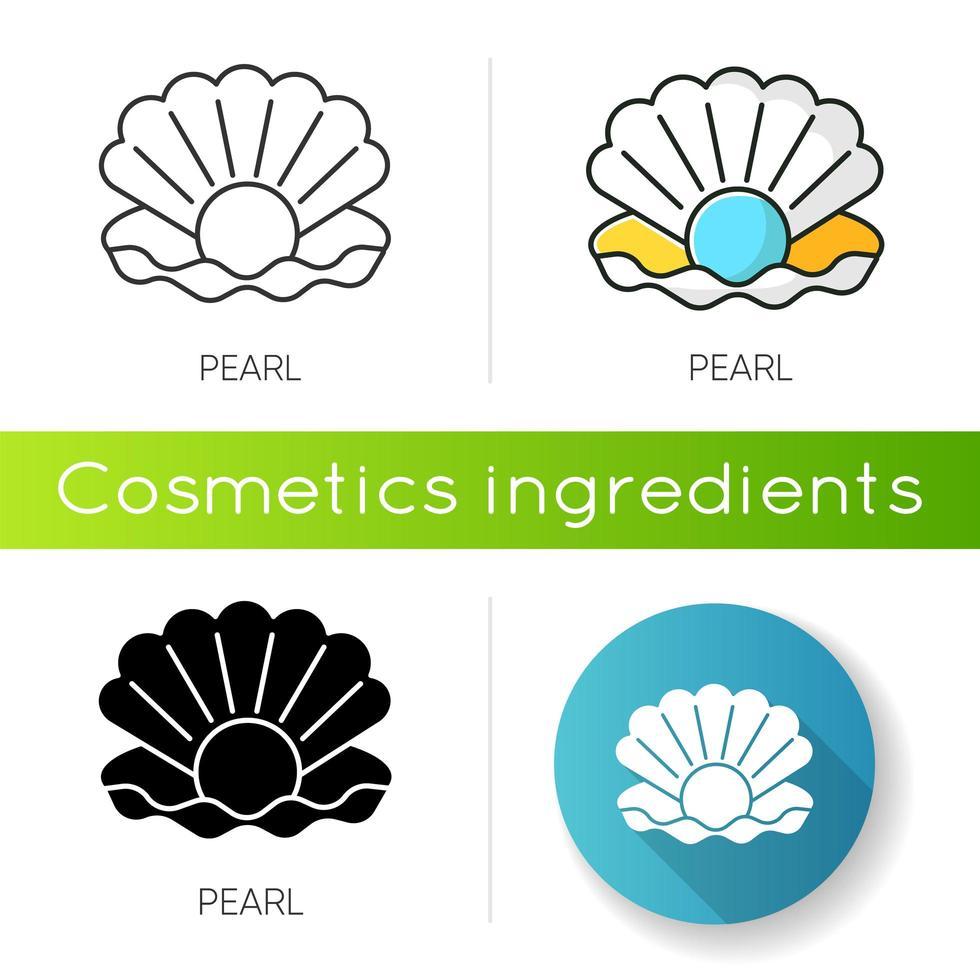 Pearl icon. Open seashell. Brightening effect. vector