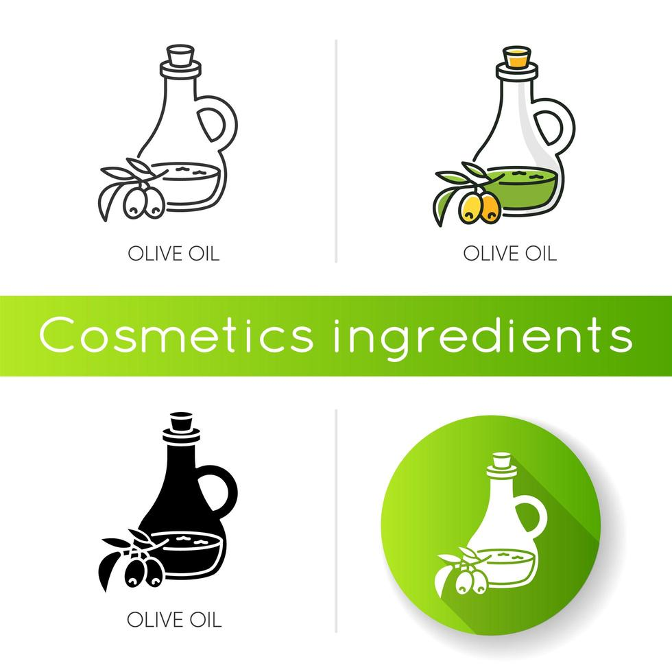 Olive oil icon. Vegan component. Exfoliating and moisturizing effect for skincare. vector