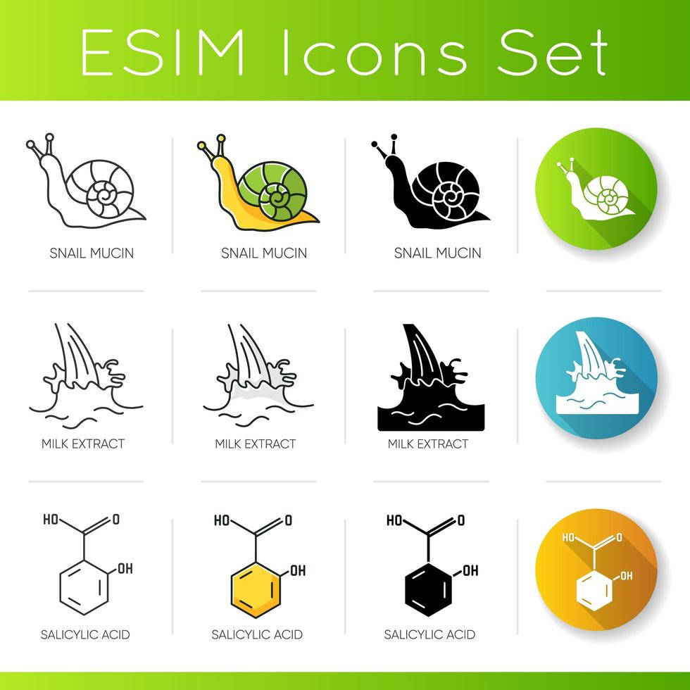 Cosmetic ingredient icons set. Snail mucin. Milk extract. Salicylic acid. Chemical formula. vector