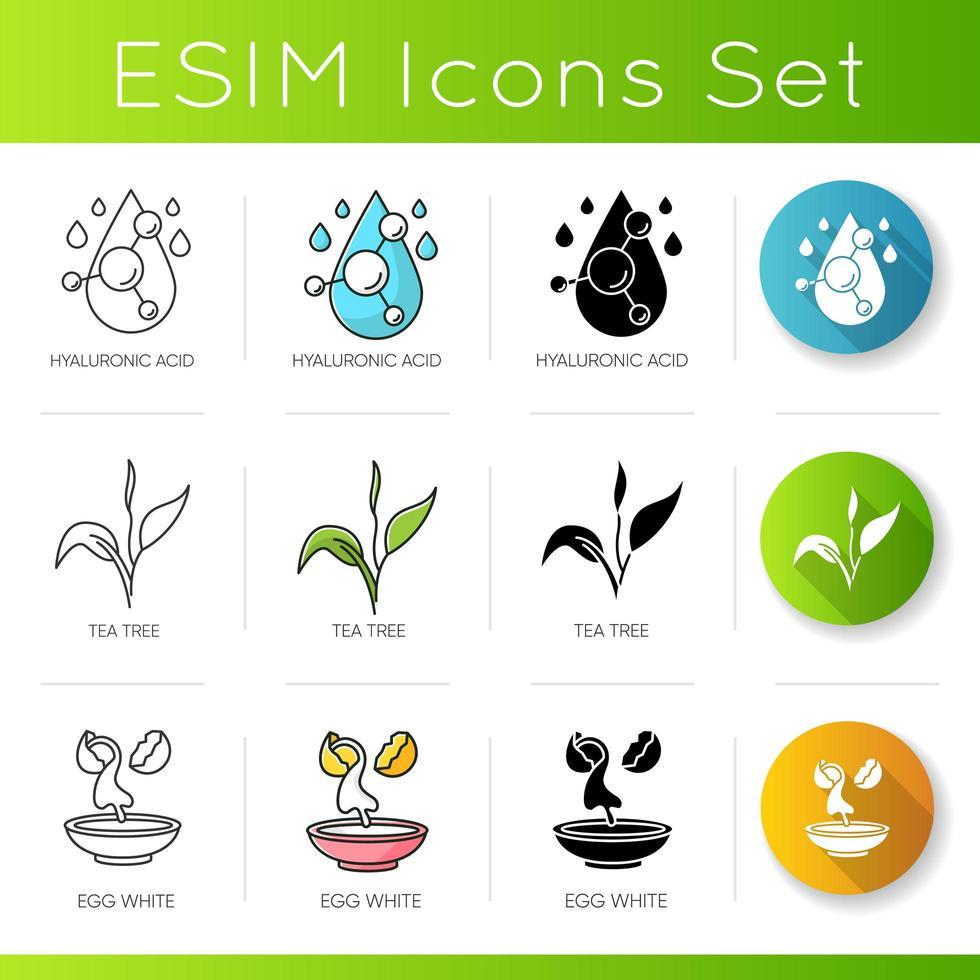 Cosmetic ingredient icons set. Hyaluronic acid. Tea tree. Egg whites. vector